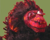 Soft Sculpture Monkey  ROBESPIERRE red and black plush animal monkey