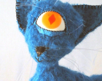 Soft Sculpture Magic Cat CURLY BLUE OOAK turquoise plush cat