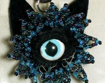 Turquoise Cateye  Beaded Pendant blue and black cat eye necklace