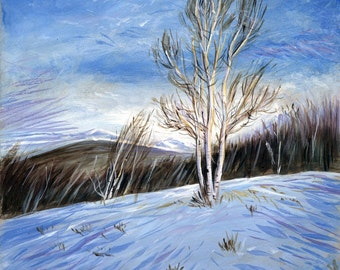 Winter Tree  Acrylic Painting blue and white snowy landscape