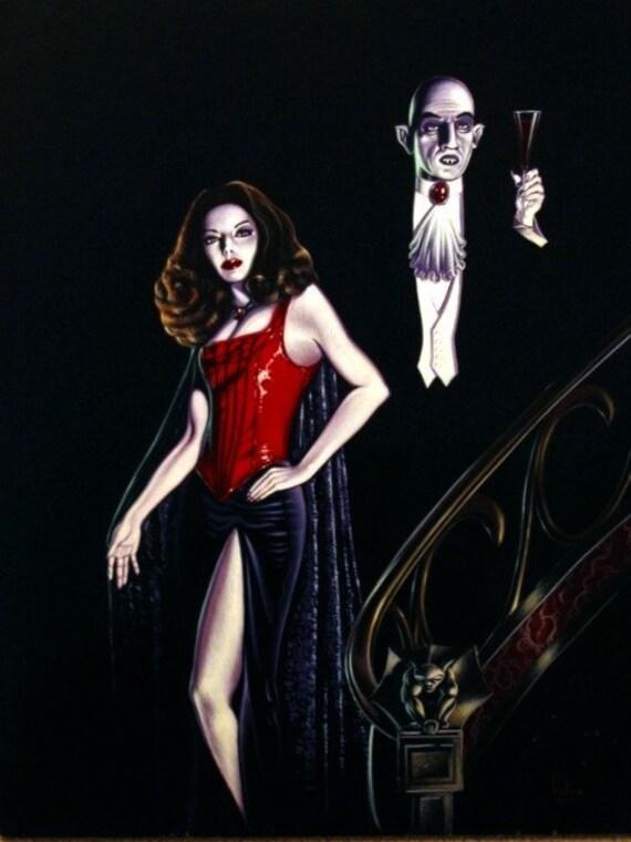 Vampire Nosferatu and His Bride Digital black, white and red vampire print