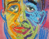 oa - Blue Man Yellow Man (original oil pastel and watercolor)