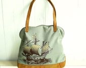 Sailing Ship Bag--Fabric and Recycled Leather