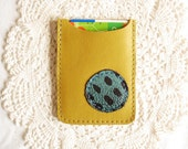 Rain Debit Card Sleeve Made of Pea Green Italian Leather by BonspielCreation