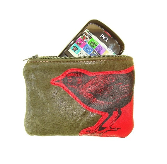 HALF PRICE Olive Green Leather Change Purse with Dipper Bird