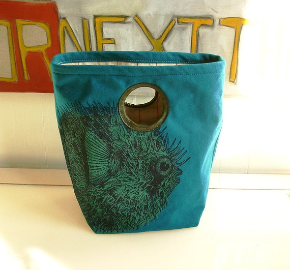 Pufferfish Bucket Tote in Deep Teal Wool Melton Cloth and Reclaimed Leather