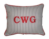 Monogrammed Blue Ticking Stripe Pillow Boutique Nautical Men Boys Personalized Initial Preppy