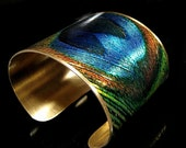 Photo Cuff, Brass Cuff, Wide Cuff Bracelet, Altered Art Jewelry, Photo Jewelry - PEACOCK Feather - Sealed in Resin