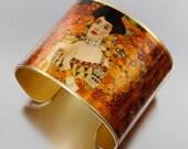 Photo Cuff, Brass Cuff, Wide Cuff Bracelet, Photo Jewelry - Gustav Klimt Adele Bloch-Bauer - Sealed in Resin - Free USA Shipping