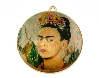 Photo Locket, Image Locket, Art Locket, Picture Locket, Brass Locket - Frida Kahlo - Self Portrait