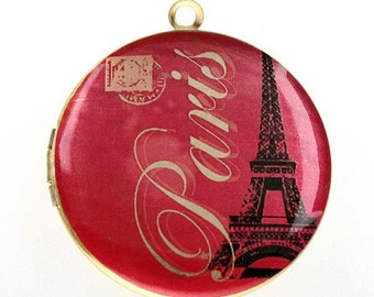 Altered Art PHOTO LOCKET - Paris Collage - 05 - Art Locket