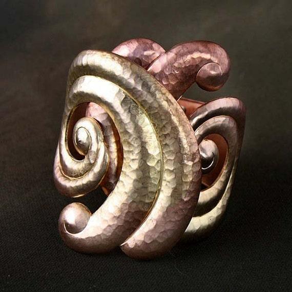Raw Brass Limited Edition ART DECO Hammered Brass Hinged Cuff Bracelet - Designer Signed