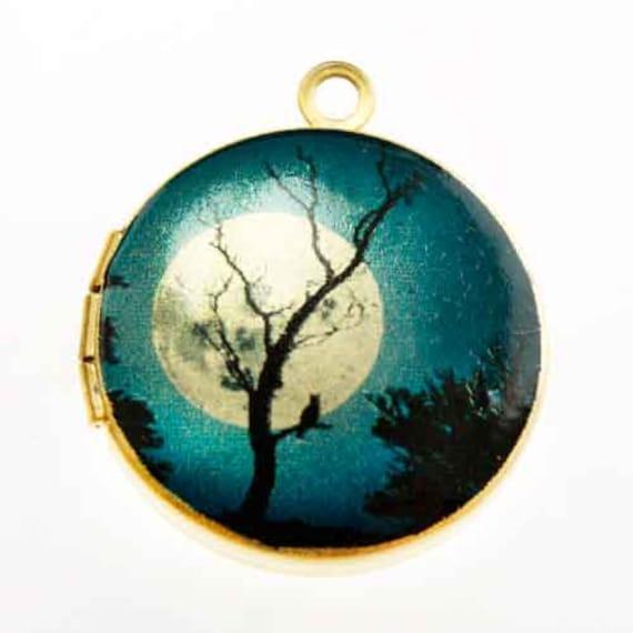 Photo Locket, Image Locket, Art Locket, Picture Locket, Brass Locket - BLUE Moonlit TREE