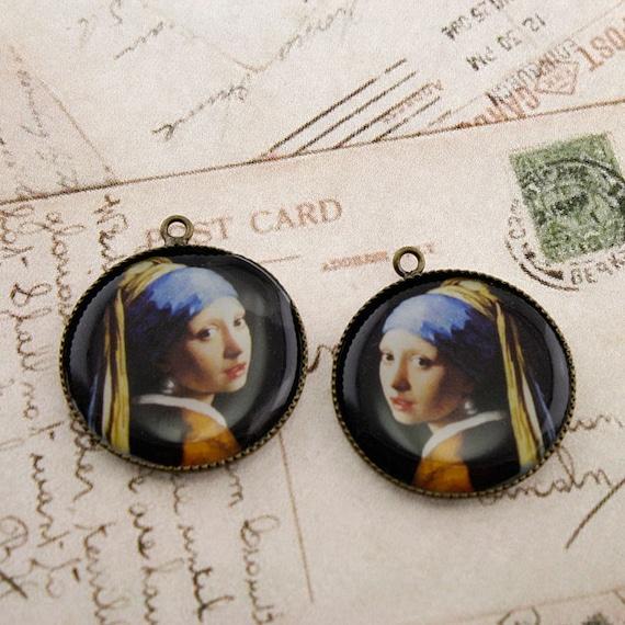 Photo Pendant, Altered Art Pendant, Brass Pendant, Resin Pendant - Johannes Vermeer - GIRL WITH a PEARL Earring - 2 Pendants