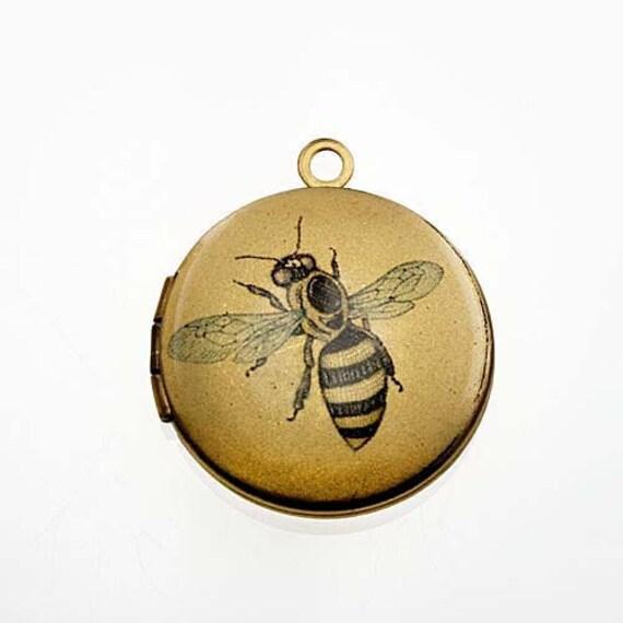 Photo Locket, Image Locket, Art Locket, Picture Locket, Brass Locket - Vintage Line Drawing - BUMBLEBEE
