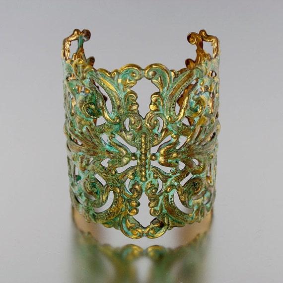 Patina Cuff, ART NOUVEAU Filigree Cuff - VERDIGRIS (Mint Green) &  Gold Accent - Extra Wide Filigree Bracelet