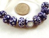 Handmade Lampwork Beads Delft Blue
