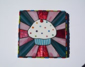 Fused glass cupcake mosaic