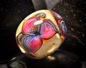 Pink flowers- handmade BHB lampwork glass focal bead