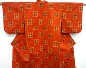 Full length vintage Japanese silk kimono - Deep orange Kasuri dyed Tsumugi