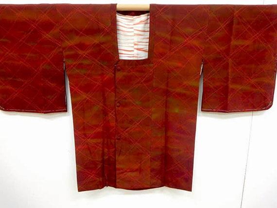 Vintage silk kimono haori  Michiyuki- mint condition - Russet