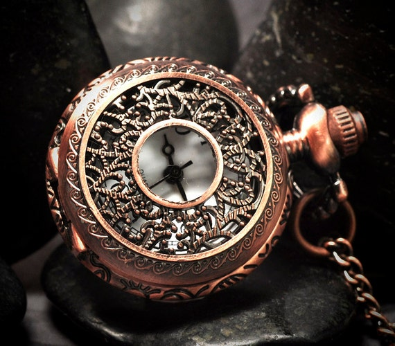 """Pocket watch - pendant watch - copper finished stainless steel with 28"""" chain"""