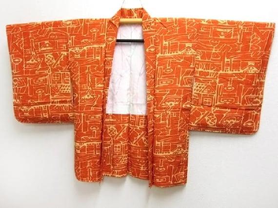 Vintage silk kimono haori - Pumkin orange and butter yellow