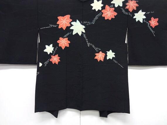 Vintage silk kimono haori - Shibori Maple leaves on black