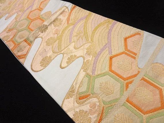 Vintage Silk Japanese Obi - Gold and White