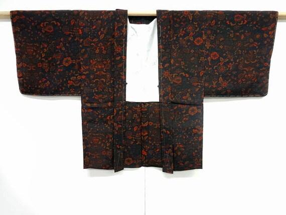 Vintage silk kimono haori - Black with autumn colored flowers