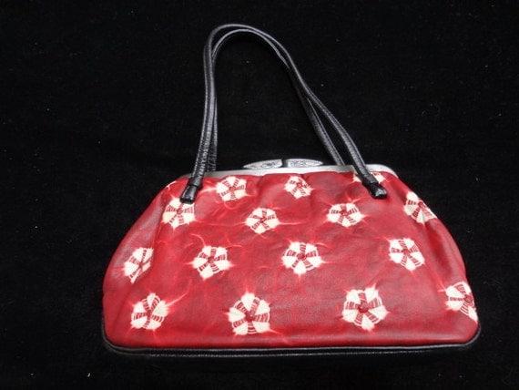 Vintage red shibori leather kimono handbag