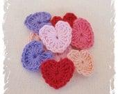 10 x Hand Crochet Applique Hearts Pink, Apricot, Lavender 100% Cotton clips scrapbooking