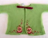 Handmade Baby Matinee Jacket with Pansies