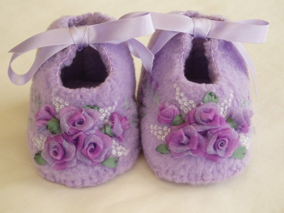 Handmade Baby Booties with ribbon roses