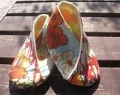 Kimono wrapped newborn shoes