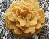 Marigold yellow boiled wool fabric hand sewn felted rose flower brooch by Lori Ramotar Hip Heart Studio