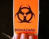 40 large biohazard warning stickers, 2 x 3 inch rectangles, caution orange