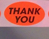 60 'thank you' stickers, orange, oval