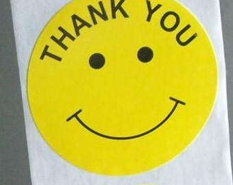100 big round 'thank you' stickers, yellow smiley faces, 2 inch