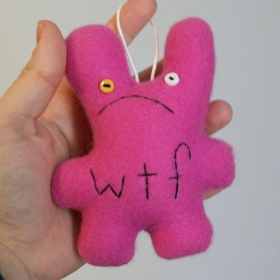 Xmas Ornament, Distressed WTF Bunny, Hot Pink