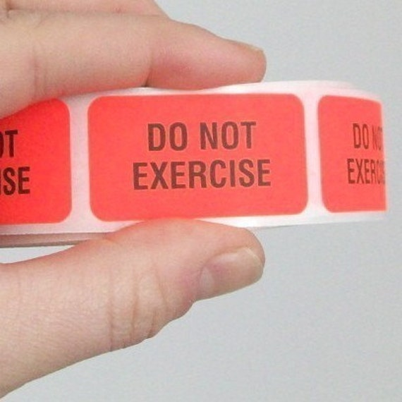 20 'Do Not Exercise' labels, bright orange, 1.5 inch