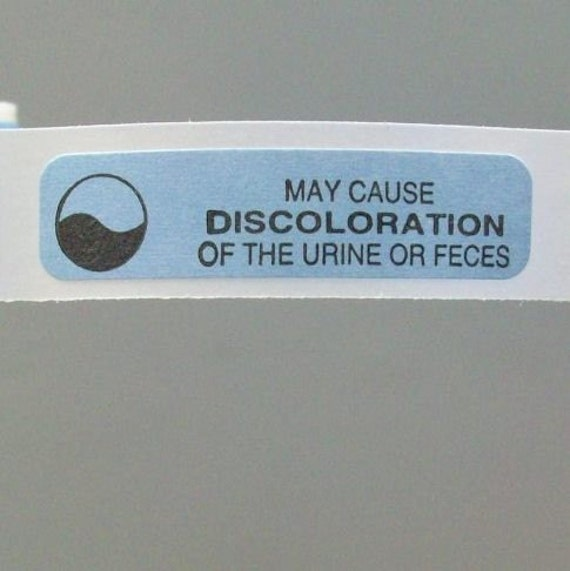 40 'may cause discoloration of the urine or feces' stickers, 1.5 inch, blue, kind of creepy