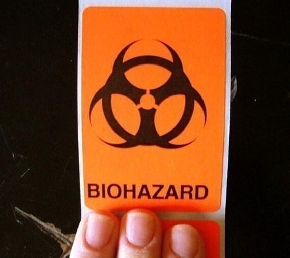 80 biohazard warning stickers, 2 x 3 inch rectangles, caution orange