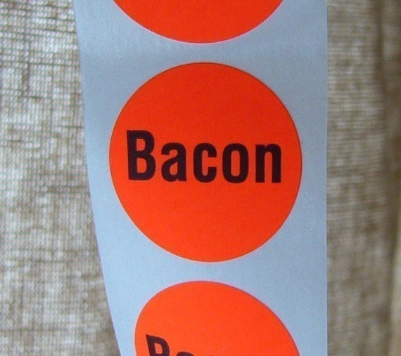 80 'Bacon' stickers, orange, round, for your bacon-labeling needs, SALE