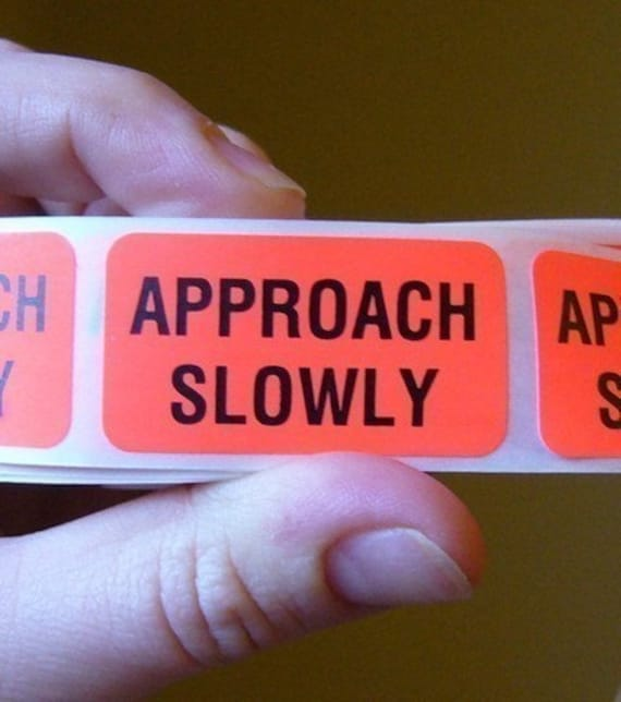 40 'Approach Slowly' warning stickers, 1.5 inch