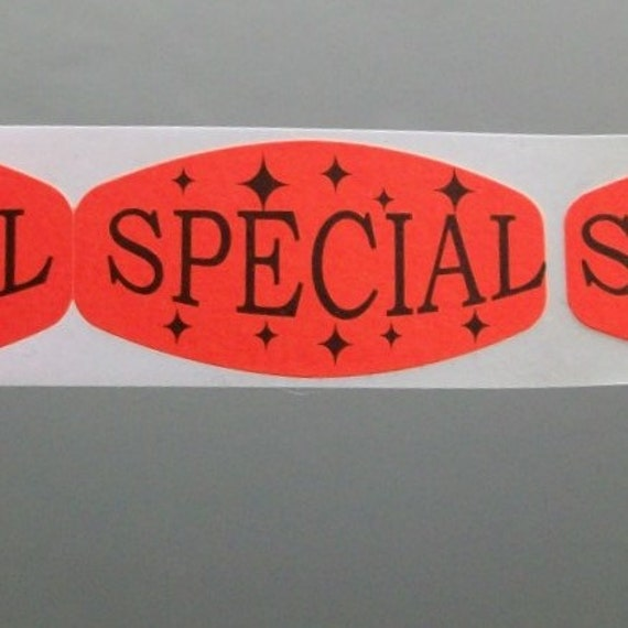20 SPECIAL stickers, orange with stars