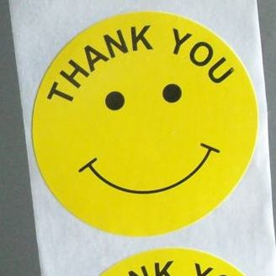 20 big round 'thank you' stickers, yellow smiley faces, 2 inch