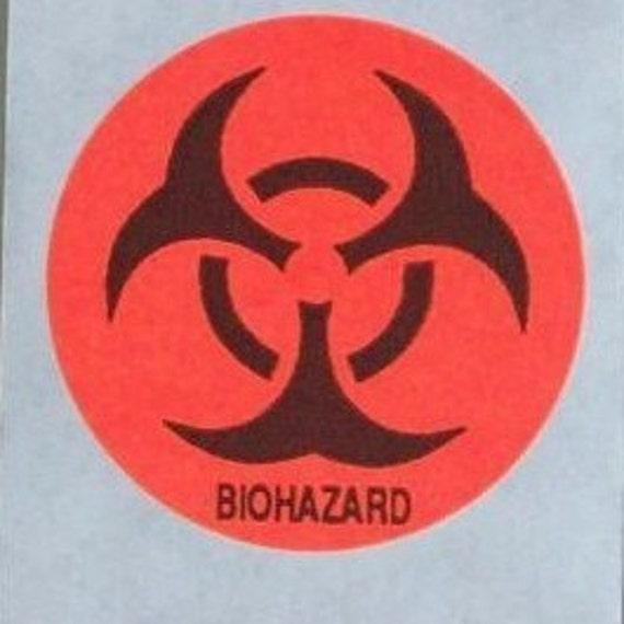 20 round BIOHAZARD stickers, very bright red / orange