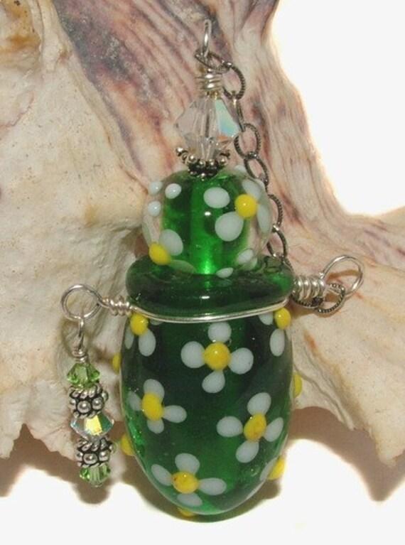 Lampwork beads - Spring Flowers vessel - Ready to Ship handmade lampwork vessel by K. Urato SRA