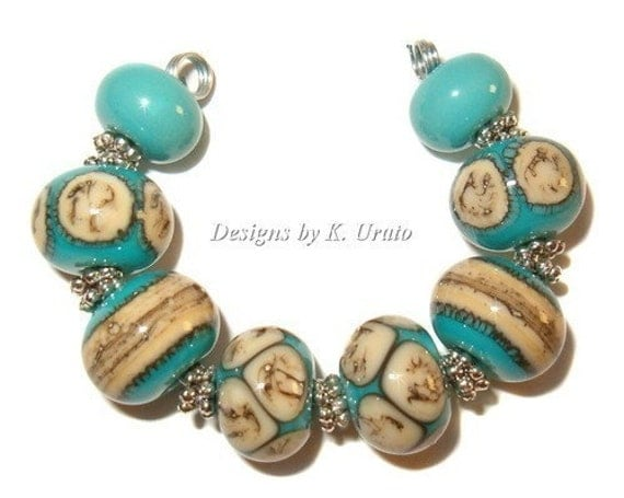 Lampwork beads - Silvered Ivory on Turquoise - handmade glass bead set by K. Urato SRA